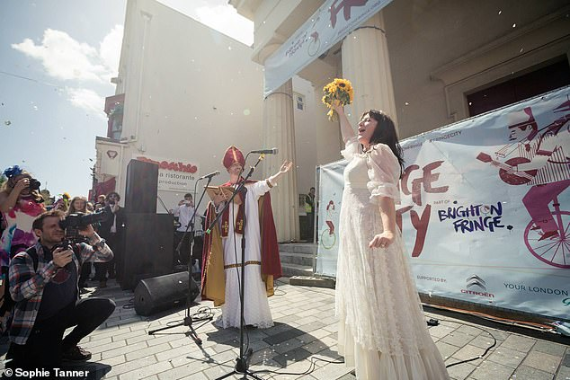 Sophie said organising her wedding took a few months and she registered the occasion as a performance at Brighton Fringe Festival 2015 (pictured)