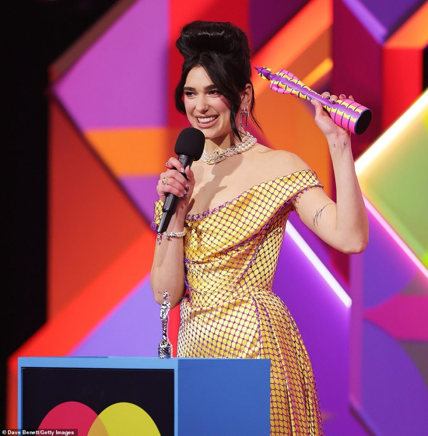 Emotional:The 2021 BRIT Awards marked the long-awaited return of live music on Tuesday night as Dua Lipa paid a moving tribute to the young hero Folajimi Olubunmi-Adewole, as she accepted the top prize for Best Album