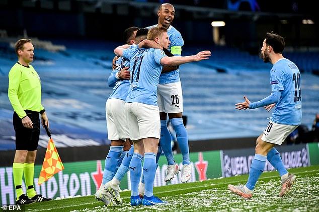Fernandinho (top) has paid tribute to his Manchester City's Premier League title success