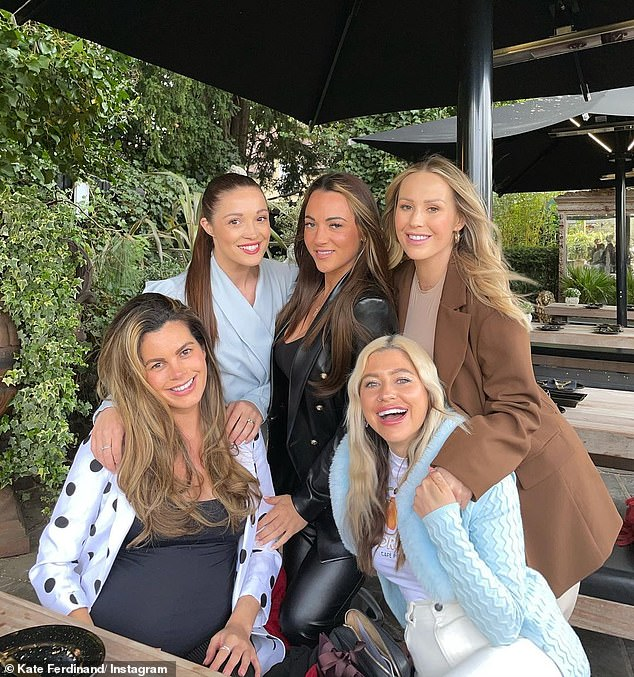 Evening: The former TOWIE star took a night off from her mom's homework to hang out with her friends in a pub garden