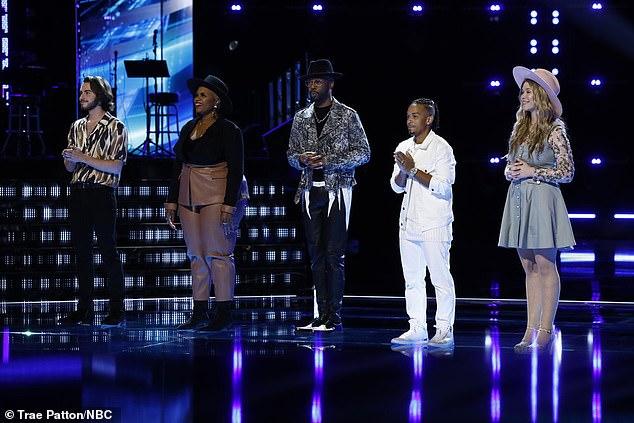 Big team:Andrew Marshall, Dana Monique, Devan Blake Jones, Jose Figueroa Jr, and Rachel Mac awaited the results of viewer voting to stay with coach Nick Jonas