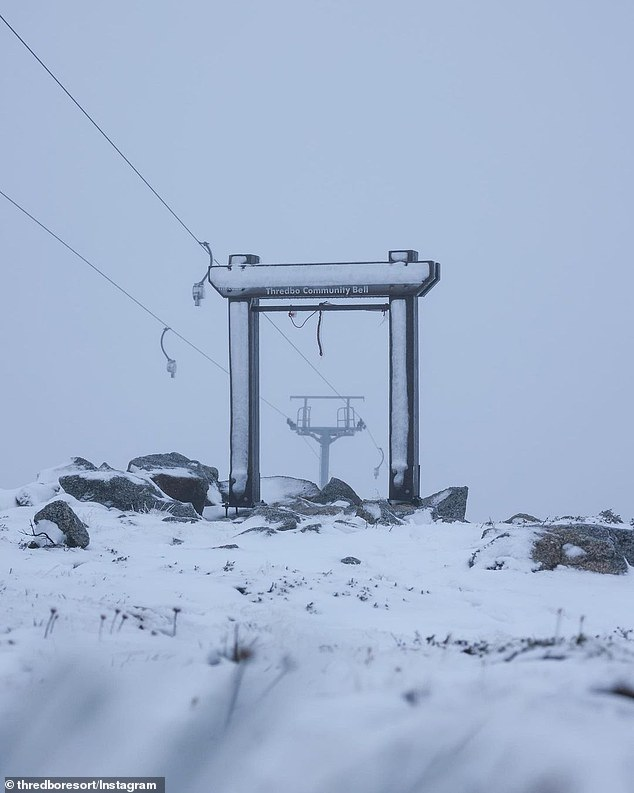 A blizzard has lashed Australia's ski resorts more than a month early in welcome signs for the nation's skiers and snowboarders (pictured, Thredbo resort on Wednesday morning)