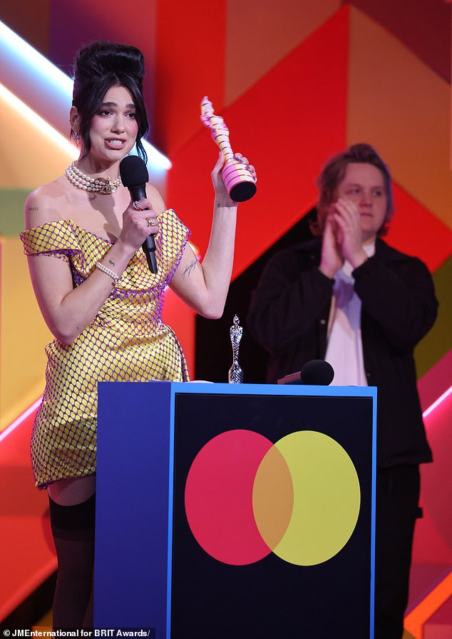 Awards: BRITs viewers praised Dua Lipa's NHS pay rise speech on Tuesday but others claim the show should be 'more about music than politics' as show loses 860,000 viewers since last year