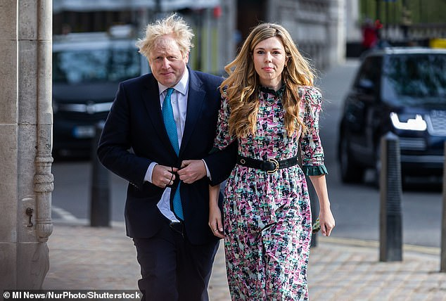 Boris Johnson himself is thought to be planning to marry fiancee Carrie Symonds (pictured together last week) when the restrictions are eased - although they have not revealed any date