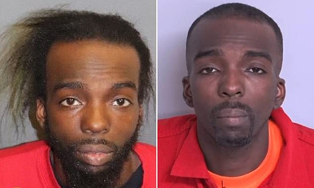 The mugshot on the left was used to try and track down Muhammad, and showed him with longer hair and a large beard. He shaved his hair down in an attempt at a disguise, police say, and was apprehended with a new look, right
