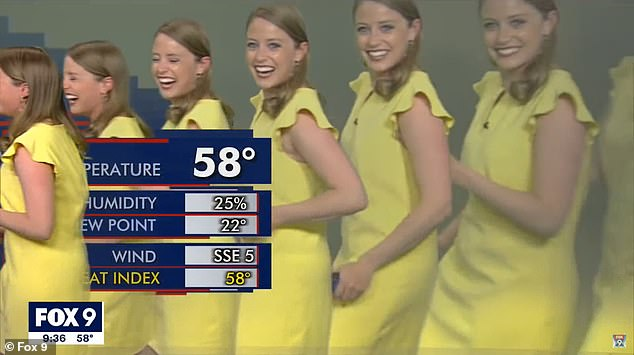 FOX 9 meteorologist Jennifer McDermed (pictured) has a fun with a technical difficulty and leads a 'train' of multiple versions of herself across the screen