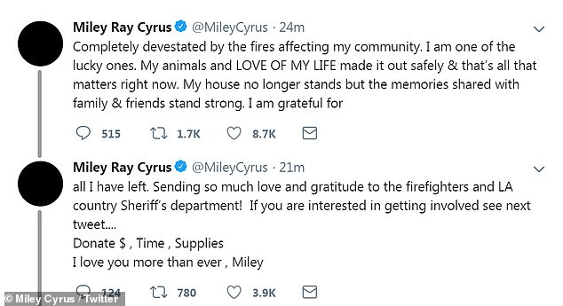 Heartbreak: And Miley shared on Twitter that although she was devastated by the loss, she was 'one of the lucky ones', while calling Liam 'the love of her life'