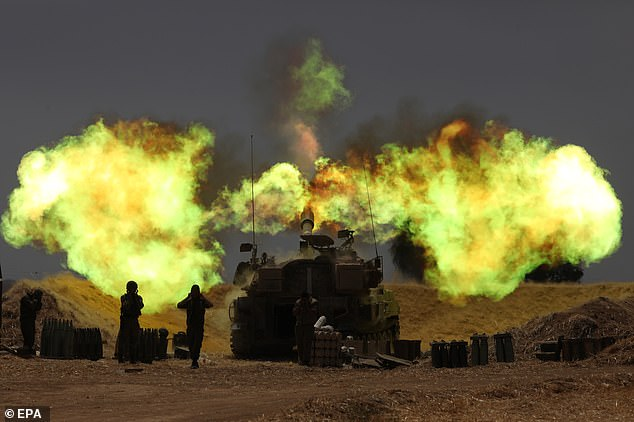 Israeli artillery in action on Wednesday. At least 70 people have been killed in the conflict