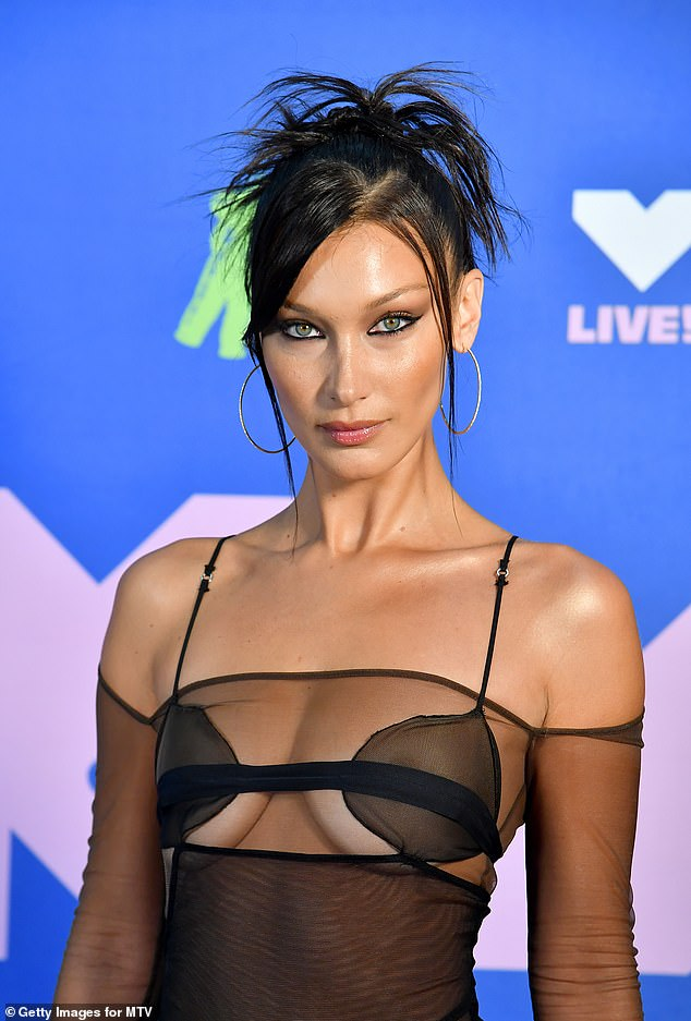 Bella Hadid, seen at the 2020 MTV Music Awards, is a stridently pro-Palestine campaigner