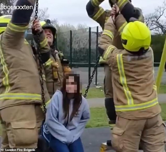 The London Fire Brigade said members from Ruislip Fire Station's Green Watch were called to rescue a 14-year-old after she became stuck on a swing in Ruislip on May 1