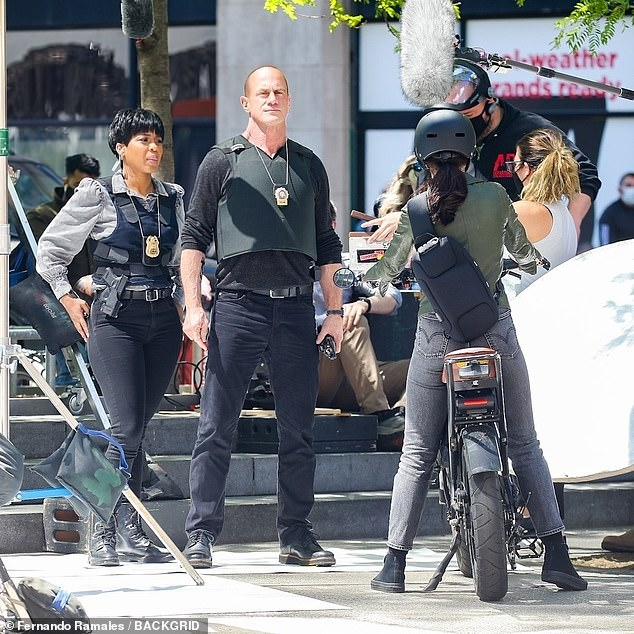 On the beat: Meloni and Truitt engaged in some action sequences for the new episode of their drama