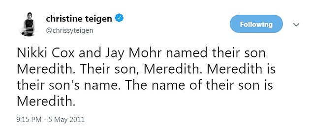 A year later in 2011: Teigenmocked comedian Jay Mohr over the name of his baby son