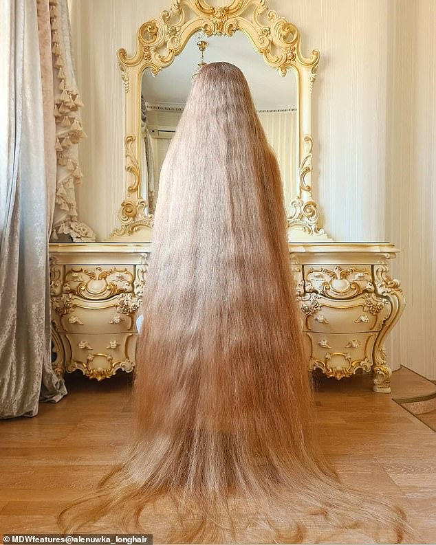 These words stuck with Alena and she has been growing her beautiful blonde locks ever since to reach the jaw-dropping length of six-feet-six-inches