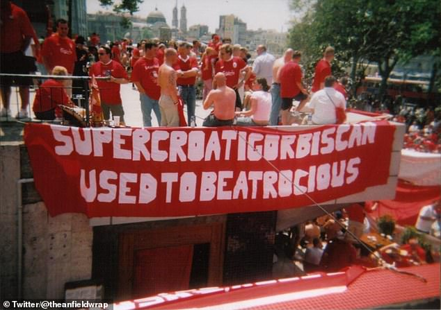 Biscanwas the recipient of one of the most creative banners ever seen on the Kop
