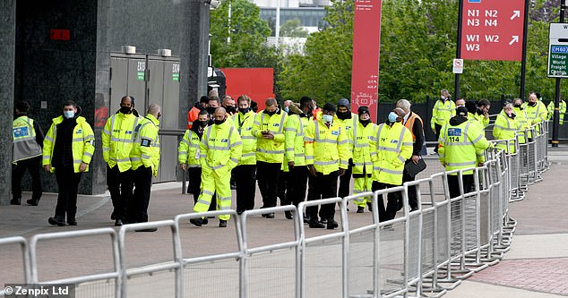 A large security presence was seen at Old Trafford more than six hours before facing Liverpool