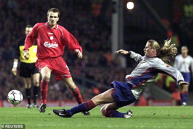 German powerhouse Didi Hamann seen in action against Barcelona en route to the UEFA Cup