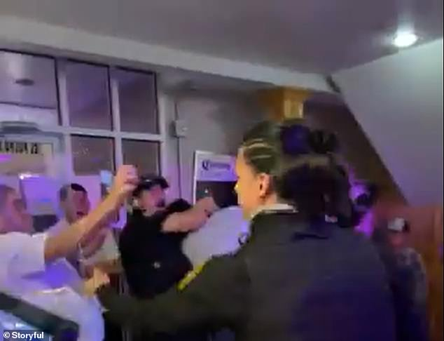 At one point, the man could be seen putting his hands up, seemingly asking for the beating to stop