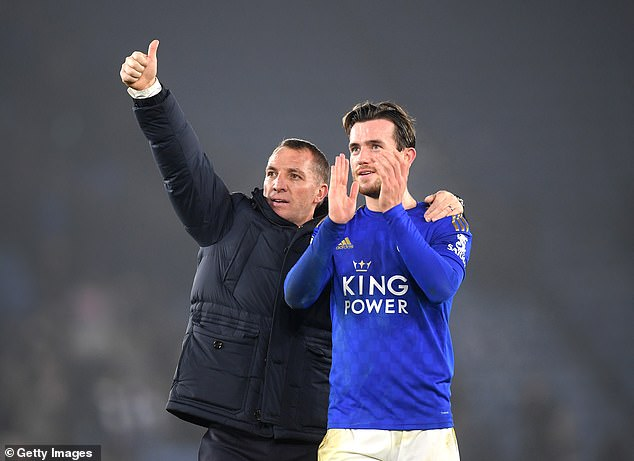 Chilwell pictured with Leicester manager Brendan Rodgers following a match last season