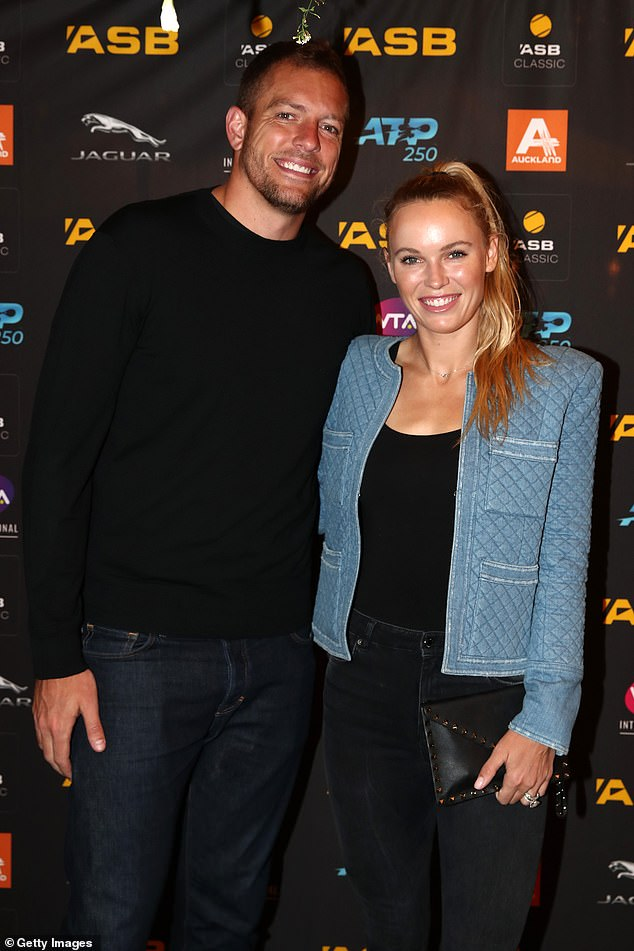 Retired: The Danish athlete retired from her tennis career to focus on starting a family with David; the pair are seen in 2020