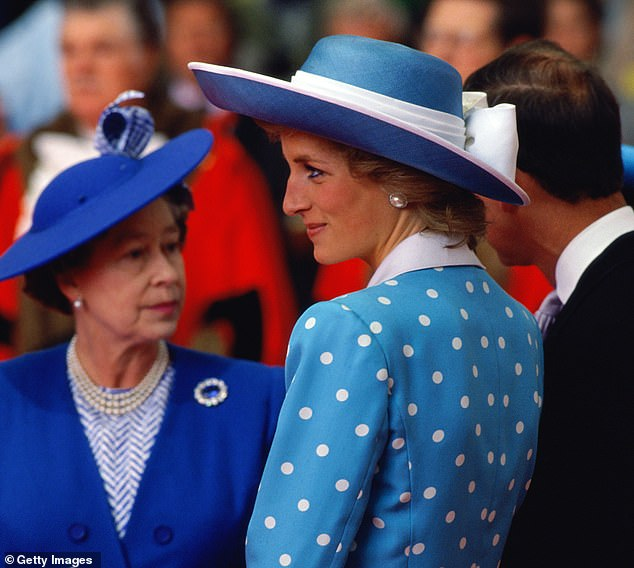 Lineage: The Queen and Princess Diana, Harry's mother, are pictured together in 1989