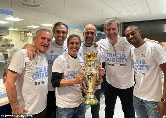 Pep Guardiola (centre right) says he is addicted to win and that inspires him to more success