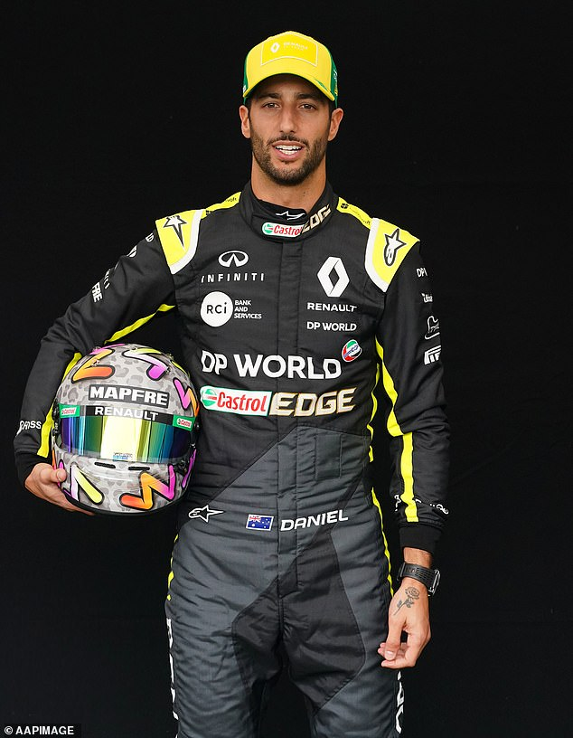 Nice guy: While there's no implication that anything romantic happened between the pair, Sara was incredibly complimentary of how the star behaved to her and her friends. Pictured: Daniel ahead of the Australian Grand Prix in 2020