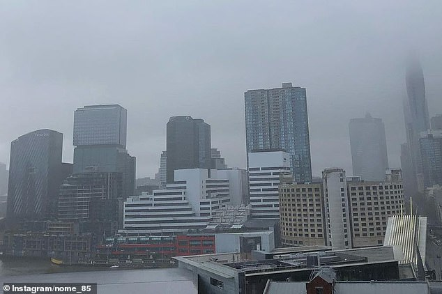 Residents have been told to rug up this weekend as a 'wintery blast' travels towards parts of NSW. Pictured: an overcast Melbourne sky this week