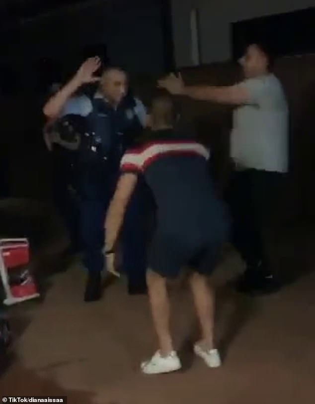 A police officer donning a tactical vest was more than happy to show off his dance moves