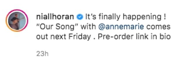 Yay! On Thursday Niall took to his Instagram to share the exciting news that the song will be released next Friday