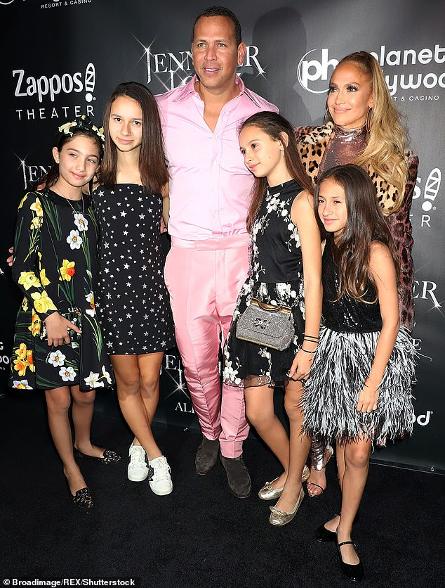 The way she was: With Rodriguez and his kids Natasha and Ella as well as her twins at Jennifer Lopez: All I Have final performance celebration in Las Vegas in 201