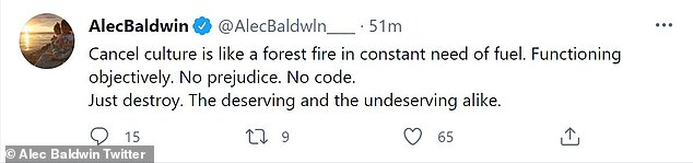 Tweet 'Canceling cultivation is like a forest fire in constant need of fuel.  Operate objectively.  No prejudice.  No code, '' he wrote in a passionate post on the platform.