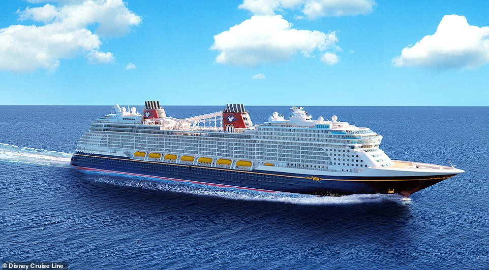 The Wish Tower Suite will be one of 1,254 rooms on the ship (rendered above), which will sail its maiden voyage on June 9, 2022