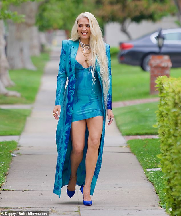 Eye-catching: Erika Jayne dazzled as she walked to a recording of the upcoming MTV Movie Awards on Thursday