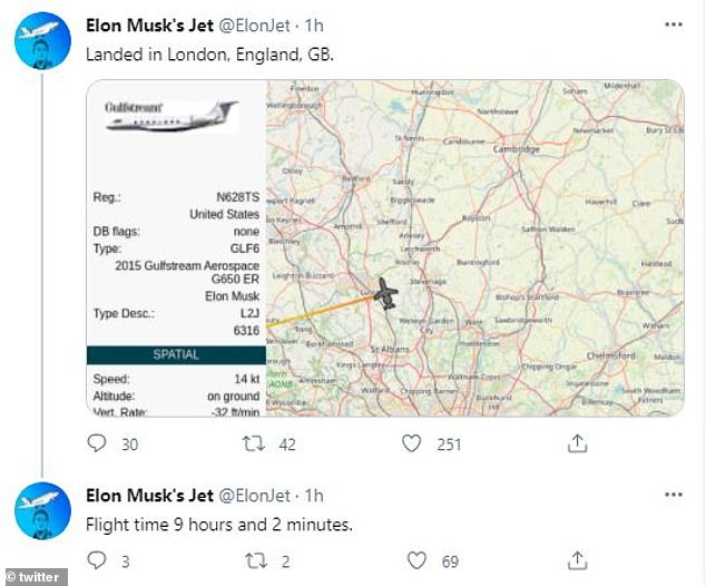 According to the Twitter account @ElonJet (pictured), which tracks Musk's private plane using flight data, it departed from San Jose in California at around 7:30am GMT, before arriving at Luton airport at around 4:30pm