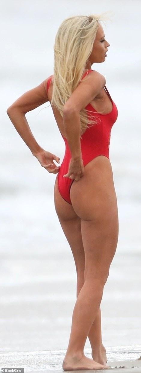 Interesting: She filmed a Baywatch scene in Malibu on Wednesday