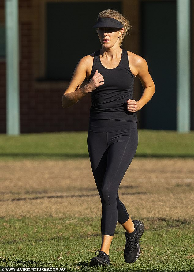 Keeping fit! Kate Waterhouse showed off her trim figure in black activewear on Friday as she and her horse trainer mother Gai, 66, enjoyed a vigorous workout session at a park in Sydney