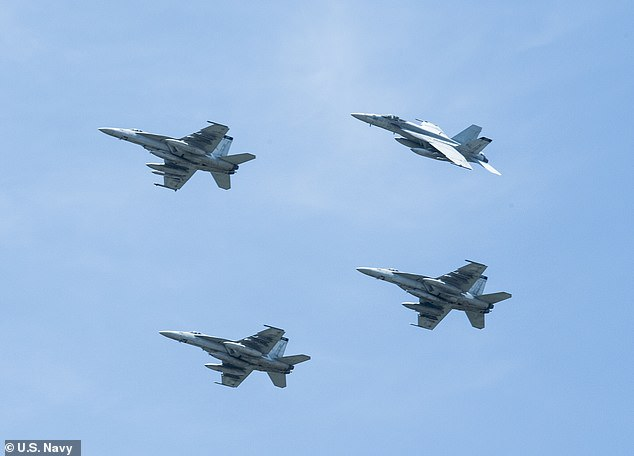 F/A-18E Super Hornets like those which detected theunidentified aerial phenomena are pictured. The jets' abilities fall far short of the UFOs seen by Graves and his fellow pilots