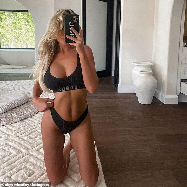 Looking good:'Female body though. Who wants a real tummy update, my skin was majorly stretched this time around and the saggy skin is real!' she wrote. 'I've been keeping a strict skincare routine to help the skin recover'