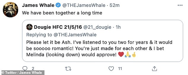 Information?  James responded to a follower by saying 'we've been together for a long time' but it was not clear whether he was referring to his radio co-host Ash Gould or his new partner.