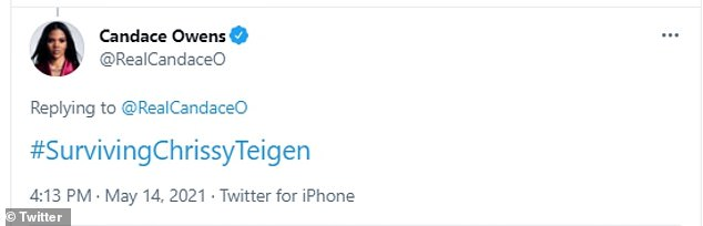 Owens then followed up with a tweet that read #SurvivingChrissyTeigen, a reference to the Surviving R. Kelly docuseries that exposed abuse allegations against the singer