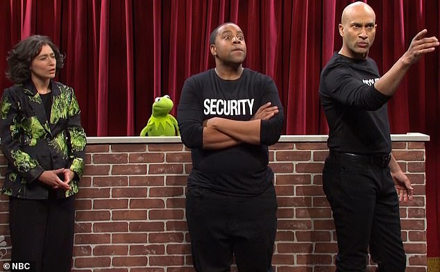 'We work for the venue!':Keegan and Kenan's bouncer characters then arrived onstage and repeatedly told them that they needed to keep quiet