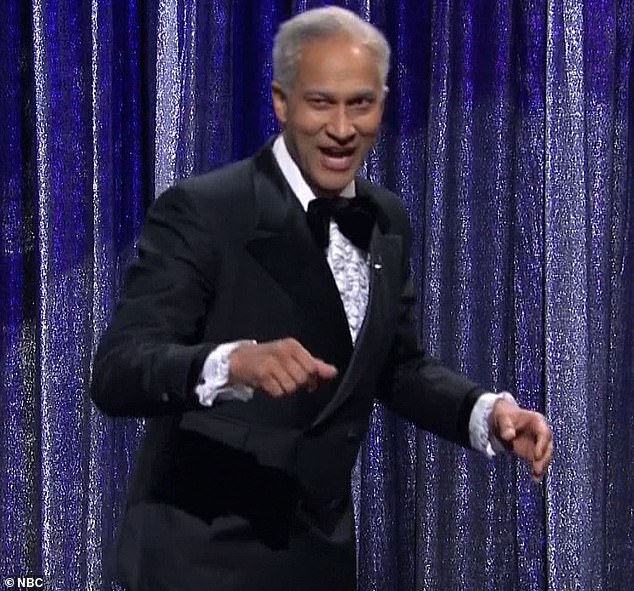 'Line?':Keegan took the stage as an aging Broadway impresario who took the repetition a little too far and just sang the title line over and over again