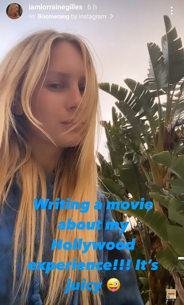 Juicy: In her strongest indication yet that she's set to tell all, Lorraine took to Instagram on Saturday to write, 'Writing a movie about my Hollywood experience!!! It's juicy'
