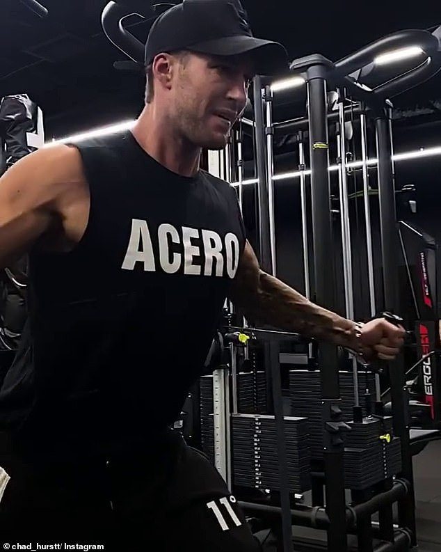 Work: Chad Hurst showed how he gets the physique that caught Australia's attention in a Sunday workout video posted to his Instagram account