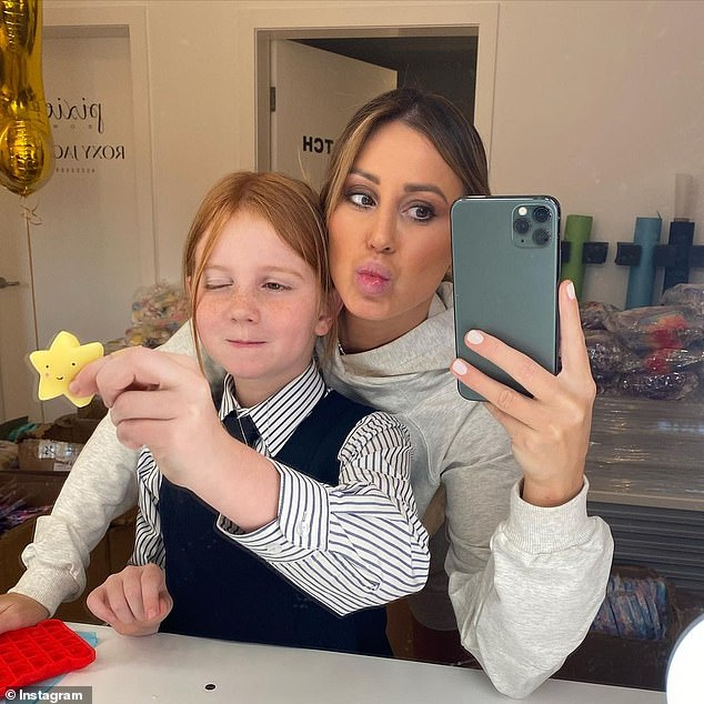 Lucky: The 41-year-old PR maven [R] and her nine-year-old offspring were sent matching Maison Valentino mini bags, as chronicled on their respective Instagram accounts
