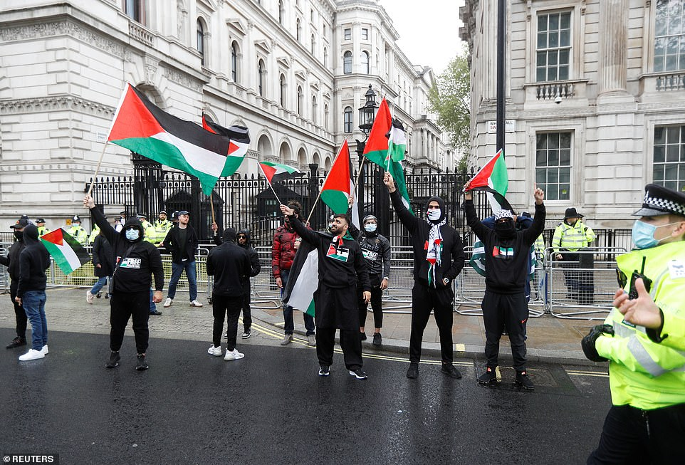 Pro-Palestinian demonstrators hold the Palestian flag during a demonstration on Sunday as police look on