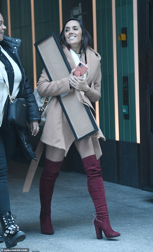 Style: Strictly star comrade Janette looked stylish in a beige coat and burgundy boots