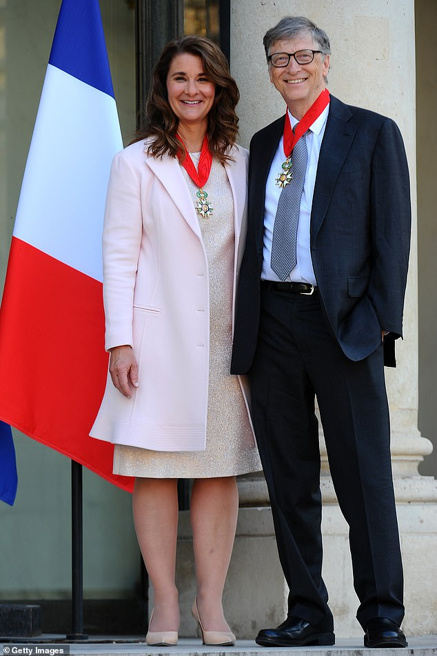 The couple, seen here after receiving the Commander of the Legion of Honor in Paris in 2017, met at work at Microsoft in 1987. And Bill Gates then asked female employees years after their marriage in 1994.