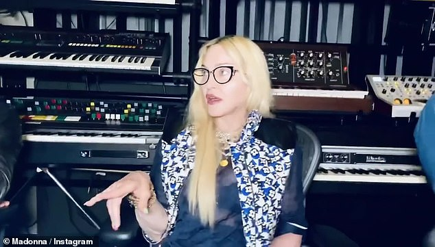 Chatting away:Madonna also shared a though-provoking and laughter-inducing conversation Sunday on Instagram for her roughly 16 million followers while working in the studio on a music project