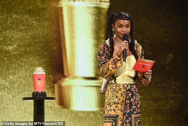 Paid tribute: 'I'm so honored to accept this award on behalf of Chadwick Boseman,' Shahidi, 21, said. 'We are honored to celebrate his art today and every day'